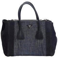 Vintage Authentic Prada Blue Twin Pocket Satchel Italy w Dust Bag LARGE