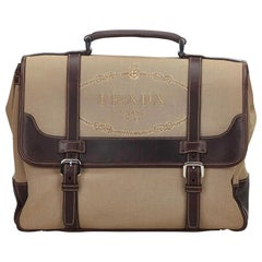 Vintage Authentic Prada Brown Beige Canvas Fabric Canapa Handbag Italy LARGE