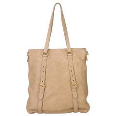 Vintage Authentic Prada Brown Beige Leather Tote Bag ITALY LARGE