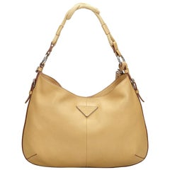 Vintage Authentic Prada Brown Beige Leather Vitello Daino Hobo Bag Italy LARGE