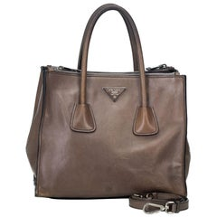 Vintage Authentic Prada Brown Calf Leather Glace Twin Satchel Italy MEDIUM