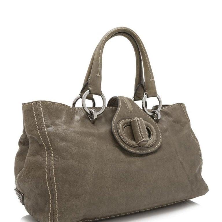 Vintage Authentic Prada Brown Calf Leather Vitello Shine Handbag Italy LARGE  In Good Condition For Sale In Orlando, FL