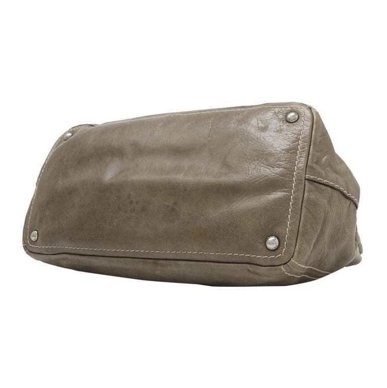 Women's Vintage Authentic Prada Brown Calf Leather Vitello Shine Handbag Italy LARGE  For Sale