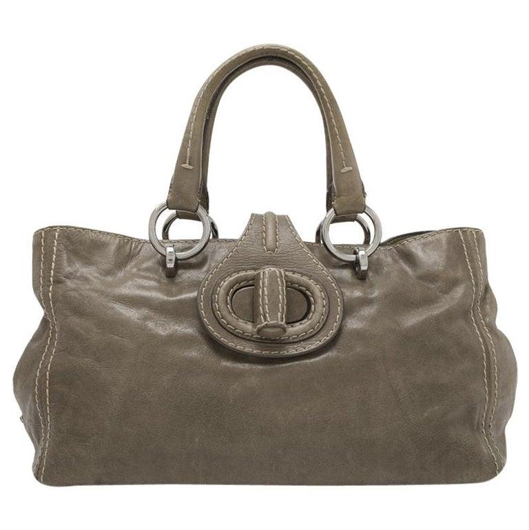 Vintage Authentic Prada Brown Calf Leather Vitello Shine Handbag Italy LARGE  For Sale