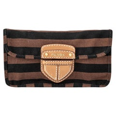 Vintage Authentic Prada Brown Canapa Righe Pochette Clutch Italy SMALL