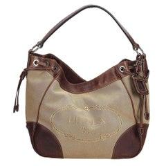 Vintage Authentic Prada Brown Canvas Fabric Canapa Shoulder Bag Italy MEDIUM