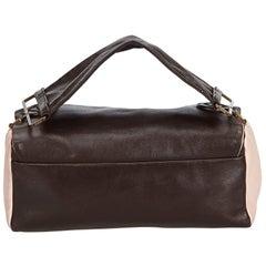 Vintage Authentic Prada Brown Dark Brown with Pink Leather Handbag ITALY MEDIUM
