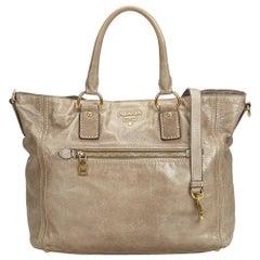 Vintage Authentic Prada Brown Khaki Leather Satchel Italy LARGE