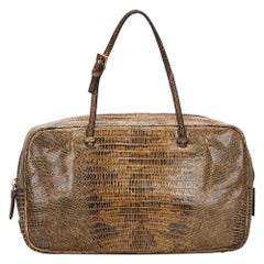 Vintage Authentic Prada Brown Leather Crocodile Embossed Handbag ITALY w SMALL