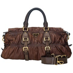 Vintage Authentic Prada Brown Leather Gathered Satchel Italy w Dust Bag LARGE