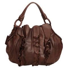 Vintage Authentic Prada Brown Leather Ruffled Hobo Bag Italy w Dust Bag MEDIUM