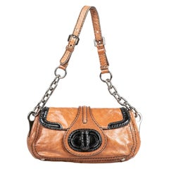 Vintage Authentic Prada Brown Leather Shoulder Bag Italy MEDIUM
