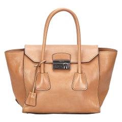 Vintage Authentic Prada Brown Leather Sound Lock Handbag ITALY w MEDIUM