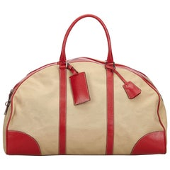 Vintage Authentic Prada Brown Leather Trimmed Weekender Italy w LARGE