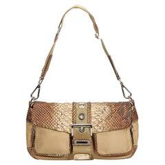 Vintage Authentic Prada Brown Nylon Fabric Python Shoulder Bag Italy w MEDIUM