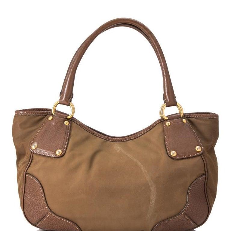 Women's Vintage Authentic Prada Brown Nylon Fabric Shoulder Bag Italy MEDIUM  For Sale