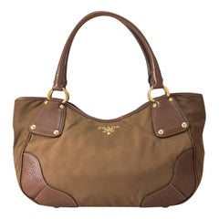 Vintage Authentic Prada Brown Nylon Fabric Shoulder Bag Italy MEDIUM