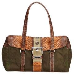 Vintage Authentic Prada Brown Nylon Fabric Shoulder Bag Italy w Dust Bag MEDIUM