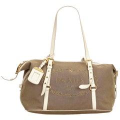 Vintage Authentic Prada Gray Canapa Canvas Shoulder Bag Italy MEDIUM