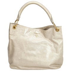 Vintage Authentic Prada Gray Leather Handbag Italy MEDIUM
