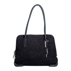 Vintage Authentic Prada Gray Shoulder Bag Italy w Padlock Key MEDIUM