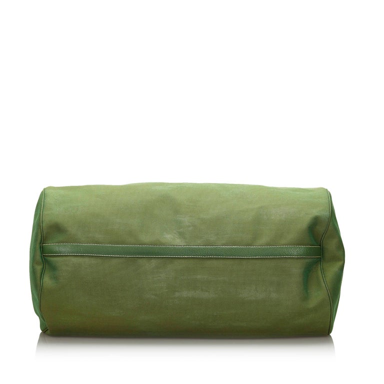 Women's Vintage Authentic Prada Green Canvas Fabric Canapa Duffle Bag Italy LARGE  For Sale