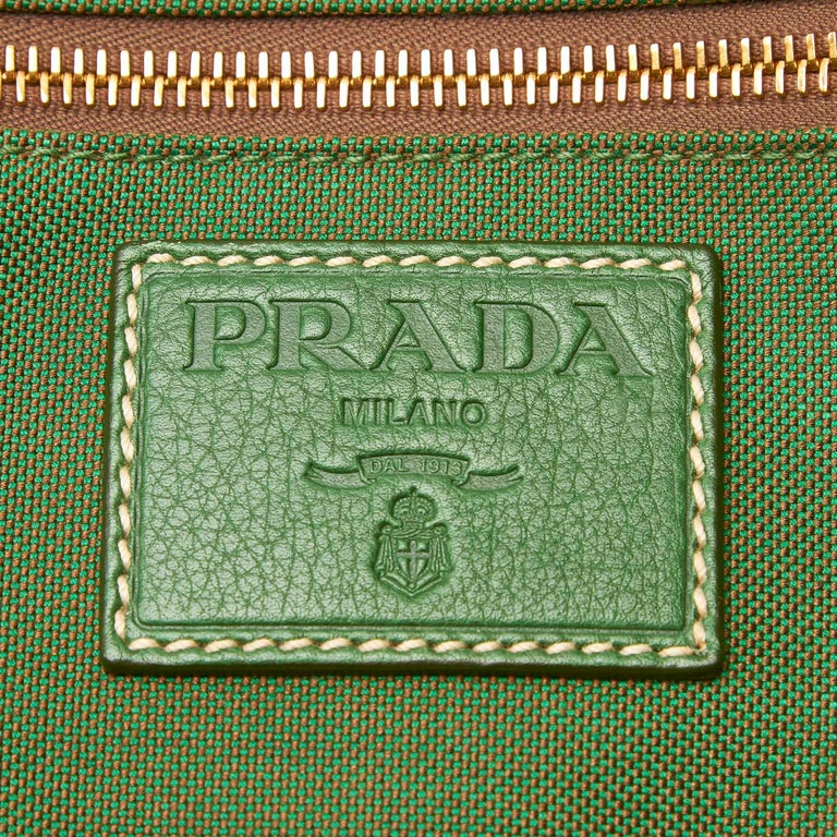 Vintage Authentic Prada Green Canvas Fabric Canapa Duffle Bag Italy LARGE  For Sale 2
