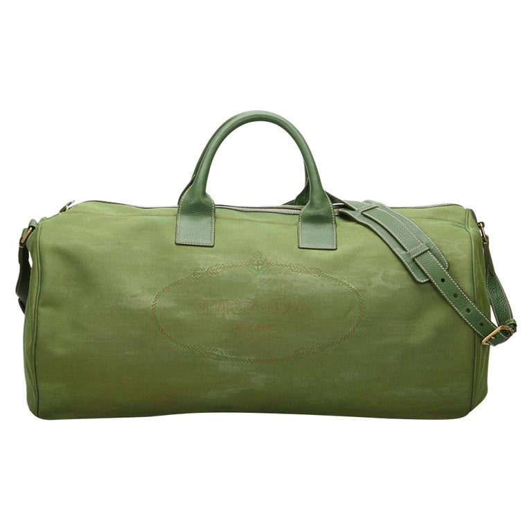 Vintage Authentic Prada Green Canvas Fabric Canapa Duffle Bag Italy LARGE  For Sale