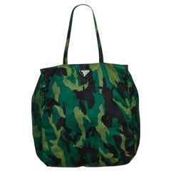 Vintage Authentic Prada Green Stampato Camouflage Tote Bag Italy LARGE