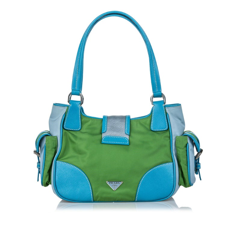 Vintage Authentic Prada Green with Blue Nylon Fabric Shoulder Bag Italy MEDIUM  In Good Condition For Sale In Orlando, FL
