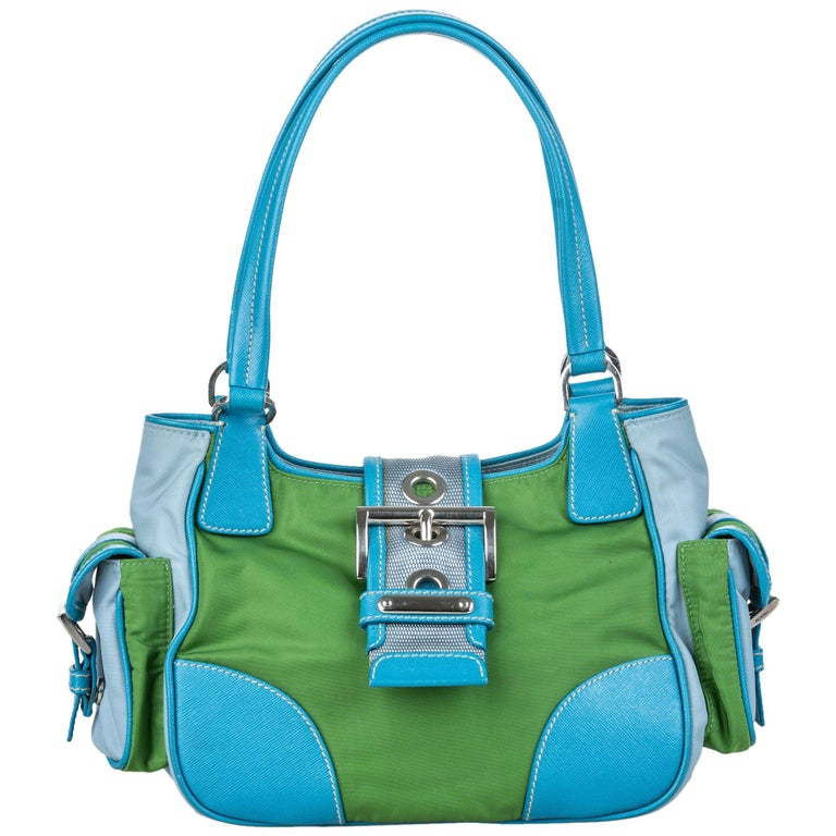 Vintage Authentic Prada Green with Blue Nylon Fabric Shoulder Bag Italy MEDIUM  For Sale