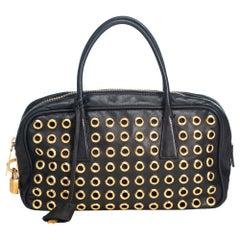 Vintage Authentic Prada Leather Grommet Handbag ITALY w Padlock Key MEDIUM