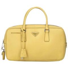 Vintage Authentic Prada Leather Saffiano Bauletto Handbag w Padlock Key MEDIUM