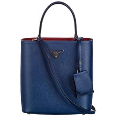 Vintage Authentic Prada Leather Saffiano Satchel w Dust Bag Authenticity Card