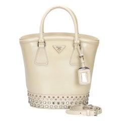 Vintage Authentic Prada Leather Saffiano Vernice Crystal Satchel Italy w MEDIUM