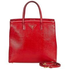 Vintage Authentic Prada Leather Saffiano Vernice Satchel w Dust Bag MEDIUM