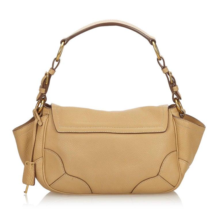 Brown Vintage Authentic Prada Leather Vitello Daino Baguette w Dust Bag Key SMALL  For Sale
