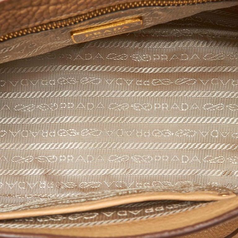 Women's Vintage Authentic Prada Leather Vitello Daino Baguette w Dust Bag Key SMALL  For Sale