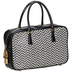 Vintage Authentic Prada Leather Woven Handbag w Authenticity Card Padlock Key