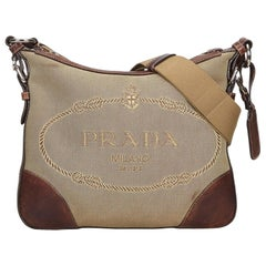 Vintage Authentic Prada Light Canvas Fabric Canapa Crossbody Bag ITALY LARGE