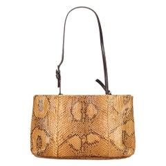 Vintage Authentic Prada Light Python Leather Shoulder Bag Italy MEDIUM