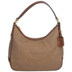 Vintage Authentic Prada Logo Hobo Bag Italy w Dust Bag Authenticity Card MEDIUM