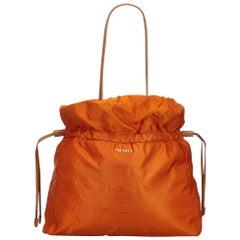 Vintage Authentic Prada Orange Light Drawstring Shopper Tote Bag Italy LARGE