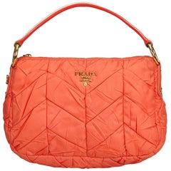 Vintage Authentic Prada Orange Nylon Fabric Quilted Shoulder Bag Italy MEDIUM