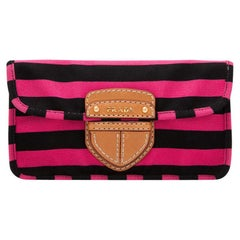 Vintage Authentic Prada Pink Canapa Righe Pochette Clutch Italy SMALL