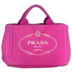 Vintage Authentic Prada Pink Canvas Fabric Canapa Jacquard Satchel ITALY MEDIUM