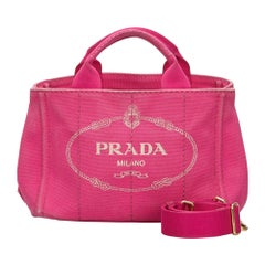 Vintage Authentic Prada Pink Canvas Fabric Canapa Logo Satchel Italy w MEDIUM