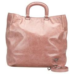 Vintage Authentic Prada Pink Leather Vitello Shine Tote Italy LARGE