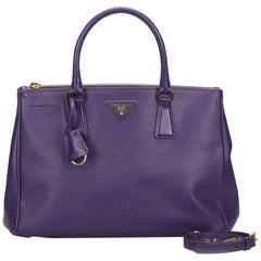 Vintage Authentic Prada Purple Leather Saffiano Galleria Satchel Italy MEDIUM