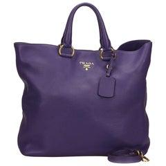 Vintage Authentic Prada Purple Leather Vitello Daino Satchel Italy LARGE